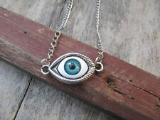 Tibetan silver evil eye necklace , evil eye charm steampunk necklace