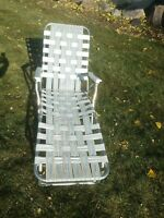 Aluminum Folding Webbed CHAISE LOUNGE Adjustable Lawn Chair Vintage MCM