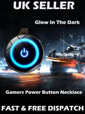 Glow In The Dark Power Button Gamer's Necklace Gaming On Off Button Black Xmas G