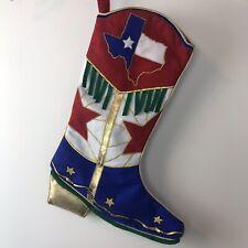 "Texas Christmas Stocking Red White Blue Fringe Gold Star Boot 15.5"""