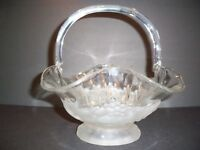 STUNNING CRYSTAL AND SATIN FRUIT BASKET 10' 'TALL TO TOP OF HANDLE