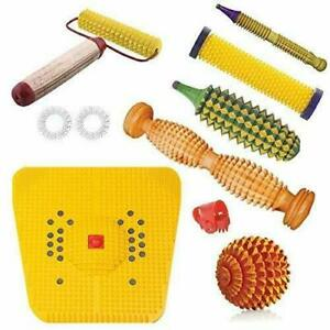 ACS Wooden Foot Roller Acupressure Magnetic Stress Mat Combo KitAlternate Remedy