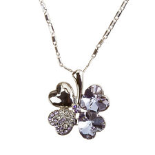 "Four Leaf Clover Crystal Pendant Necklace 15"" Link Chain - Amethyst (H54/1)"