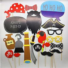 20pc Pirate Sailor Birthday Party hat beard Selfie Photo Booth Prop Game Sign