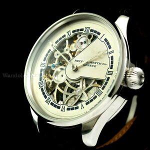 Record Vintage Men's Wrist Watch Stainless Steel Skeleton Mens Wristwatch Swiss