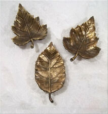 Williams Sonoma Antique Brass Leaves Leaf Condiment Plates Set of 3 Thanksgiving