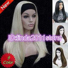 Classy Vintage Long Straight Style Wig in Black/Brown/Blonde Wigs / Free Wig Cap
