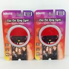 2 Bower Rechargeable Clip-On Ring Lights - Works With Most Mobile Devices - Red