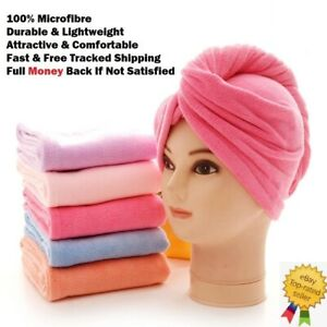 QUICK DRY MAGIC HAIR TURBAN TOWEL SOFT MICROFIBER HEAD WRAP WOMEN DRY SHOWER CAP