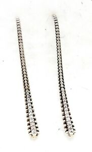 "Lagos Caviar 1 3/4"" Diamond Linear .925 Sterling Silver Drop Earrings Wore twice"