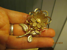 Vtg Gold tone Genuine Pearl Long Stem Flower Pin Brooch with Virgin Mary Charm