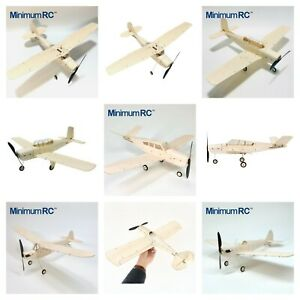 MinimumRC Micro Indoor/Backyard Balsa Model Airplane Kits & RX, ESC, Servos *UK*