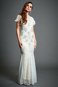 Jywal White Beaded Mermaid 1920s Gatsby Wedding Dress 8 10 12 14 16 18 UK