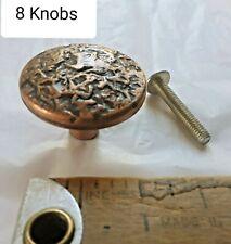 8 Vintage Drawer Knobs Metal Cabinet Furniture Pulls Hammered Copper Color