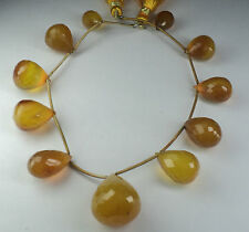 152Cts. YELLOW CHALCEDONY TEARDROPS BRIOLETTES MICRO FACETED 9 INC. STRAND AAA++