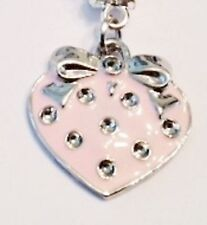 PINK & SILVER STRAWBERRY WITH SILVER BOWAND RHINESTONES  CLIP ON CHARM - NEW