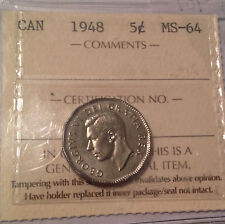 1948 Canada Nickel - KEY DATE coin - ICCSMS64