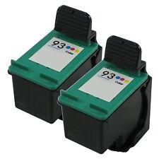 2 Pk Color Ink for 93 Photosmart C3135 C3140 C3150 C3180 C4180 7850