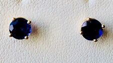 14 K Yellow Gold 0.8 CTW Genuine Iolite AA Stud Earrings 5 mm Round