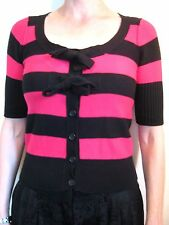 Sonia Rykiel for H&M Size XS or 6 Pink Black Stripe Pullover Sweater Cardigan
