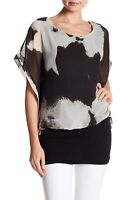 Papillon 157571 Women's Short Dolman Sleeve Print Blouse Black/White Sz. Medium