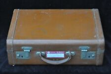 Vintage Tan Leather Suitcase - Monogrammed 'E.K.'