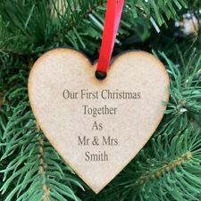 Personalised Heart Christmas Tree Bauble Decoration Ornament Ply Wood Xmas Gift
