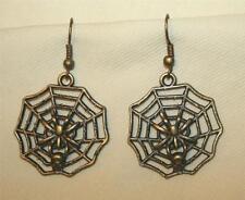 Delightful Openwork Brasstone Spider Web Halloween Fall PIERCED Earrings +++