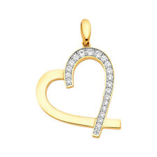 14K Real Yellow Gold  CZ Heart Pendant For Girls Gold  CZ Heart Pendant