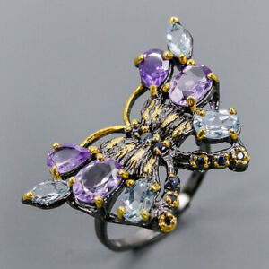 Amethyst Ring Silver 925 Sterling Vintage Size 8.5 /R148089