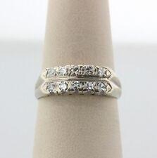 Antique Estate Art Deco 14K White Gold 0.30ct Diamond Wedding Band Ring Size 7.5