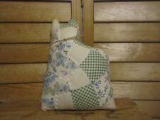 Primitive Cat shelf sitter doll -  quilt - green/blue/white - 21