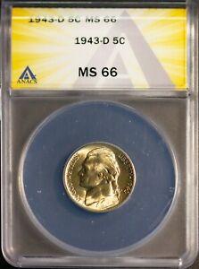 1943-D 35% Silver 5C Jefferson Head Nickel MS 66 ANACS # 7283830 + Bonus