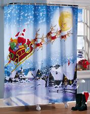 Christmas Decoration Santa Reindeers Sleigh Flying Fabric Shower Curtain & Rings