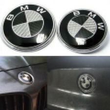 82 &74mm For BMW Carbon Fiber Black Silver Hood Trunk Badge Emblem Free Shipping