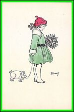 Peteanin Art Post Card - Girl with Flowers - Uncirculated - Serie 1353