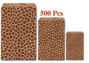 500Pc Gift Bags Wholesale Kraft Paper Bags Leopard Print Jewelry Flat Gift Bags