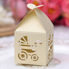 10 pcs Laser Cut Yellow Baby Carriage Party Candy/Favor Box