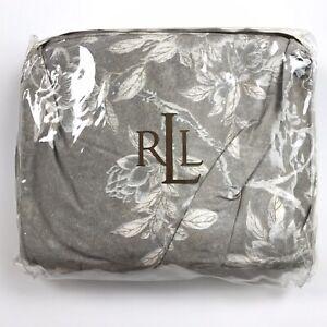"""QUEEN Ralph Lauren Odeon Floral Silver Bronze Queen Bedskirt for 60""""x80 Mattress"""