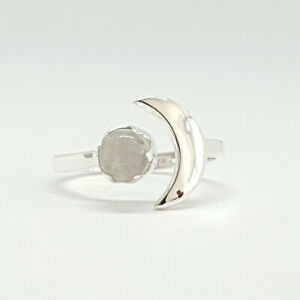 Adjustable ring with moon and Moonstone in 925 Sterling Silver