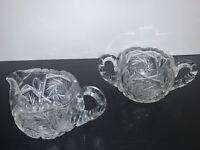 Vintage Cream Pitcher and Sugar Bowl Set American Brilliance Crystal Cut Glass