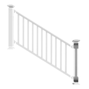 Durable Handrail Stair Railing Kit Traditional Veranda Vinyl Porch Deck White
