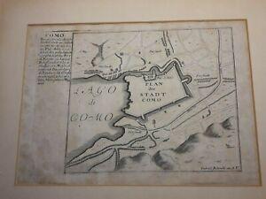 COMO LAGO PLAN DER STADT 1720 Pianta schematica della città