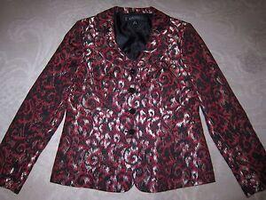 Kasper red, black, & gold metallic rounded collar cropped blazer, ladies' sz 8P