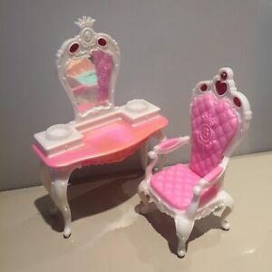 Mattel Barbie Dressing Table Dresser Pink White Princess desk