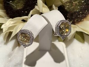 Judith Ripka 925 Sterling Silver Asscher Cut Canary Crystal Stud Earrings