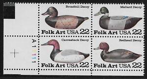 US Scott #2138-41, Plate Block #A11111 1985 Folk Art 22c FVF MNH Lower Left