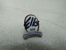 Vintage Elks USA Charter Donor Silver Tone White and Blue Enamel Lapel/Hat Pin