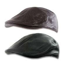 Oiled Leather Flat Cap Newsboy Hat Ivy Driving Golf S M L XL Gatsby Steampunk