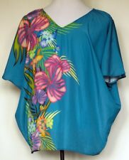 Lane Bryant Teal Blue Tropical Floral Batwing Flowy Lightweight S/S Top 16